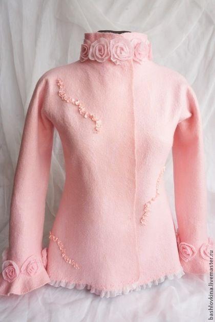 """Пиджаки, жакеты ручной работы. Ярмарка Мастеров - ручная работа. Купить Жакет """" Утренняя роза"""". Handmade. Розовый"""