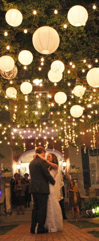 "Customer Story: ""Here are pics of my daughter's wedding. The paper lanterns were beautiful!! She told me she wanted paper lanterns hanging from the trees and it was magical!! It made her wedding dreams come true!!! Thank you to Paper Lantern Store for making these beautiful lanterns!!!"" Kim K. / Tuscaloosa, AL (www.paperlanternstore.com)"