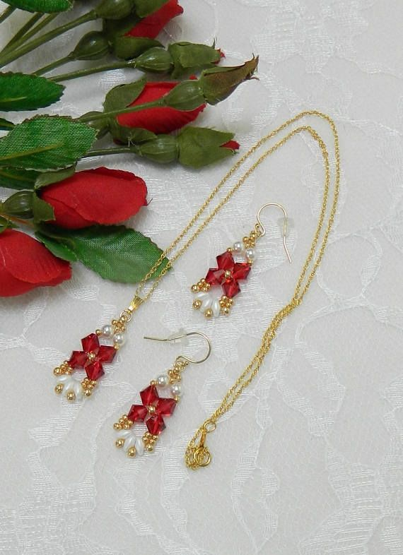 Perlen Swarovski Halskette/Ohrringe SET Swarovski Perlen
