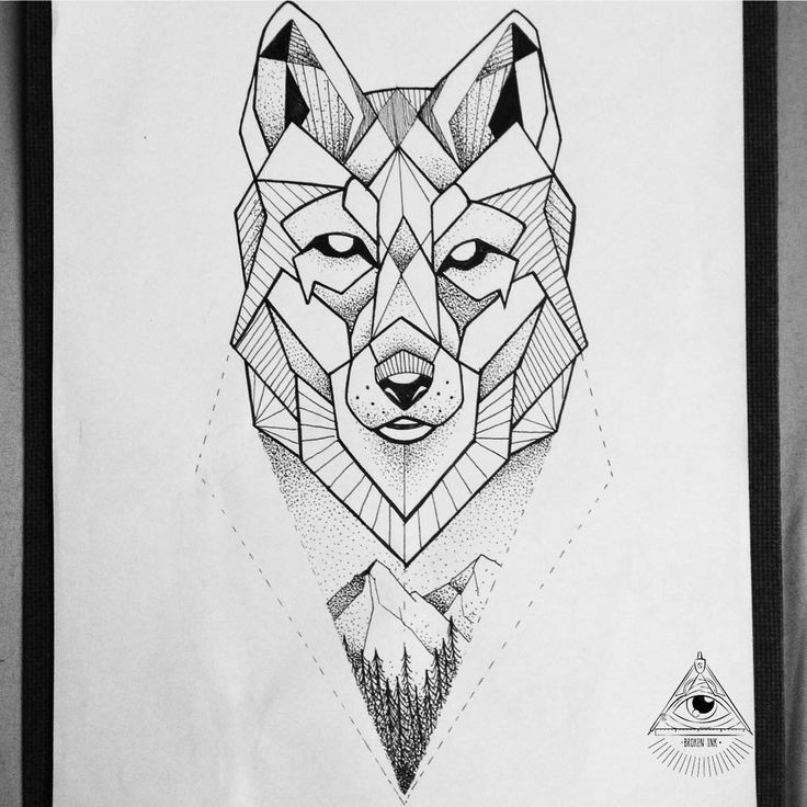 Geometric wolf illustration tattoo. By Broken Ink Tattoo
