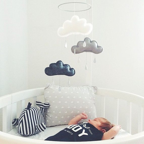 White Grey and Charcoal cloud mobile for nursery by leptitpapillon