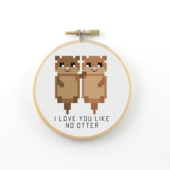 I love you like no otter cross stitch pattern  #otter #pun #funny #crossstitch