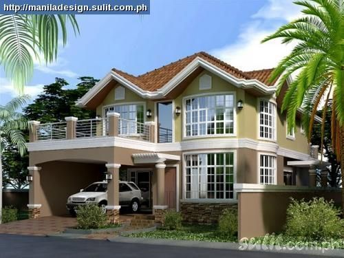 2 story house with balcony small 2 storey house plans for Two story homes with balcony