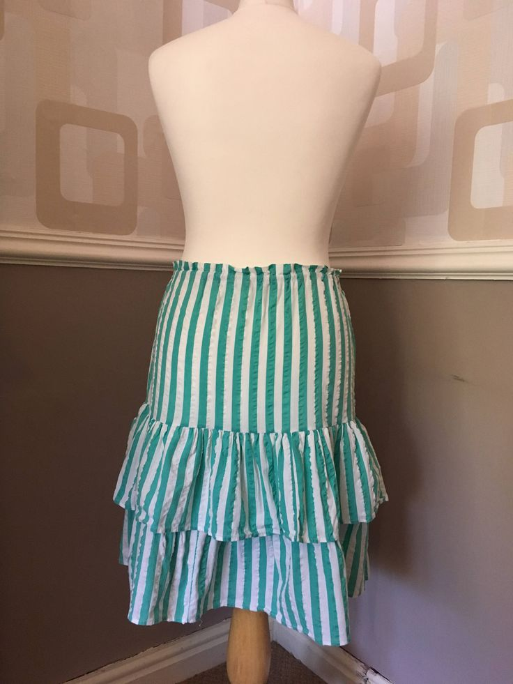 Vintage 80's RaRa skirt, retro ruffled frills, candy stripe green and white, drawstring, 2 tiered rah-rah above the knee by TheVintageFlea29 on Etsy