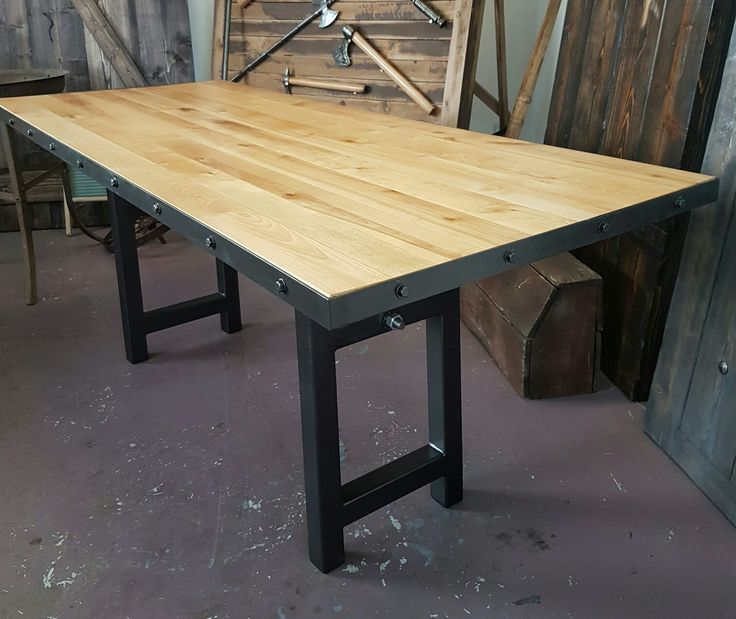 Birch and iron office work table Old Towne Forge