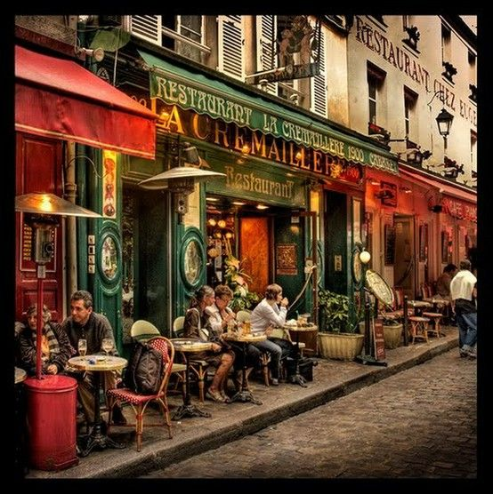 Dinner at a street cafe in Montmartre (Paris). Description from pinterest.com. I searched for this on bing.com/images
