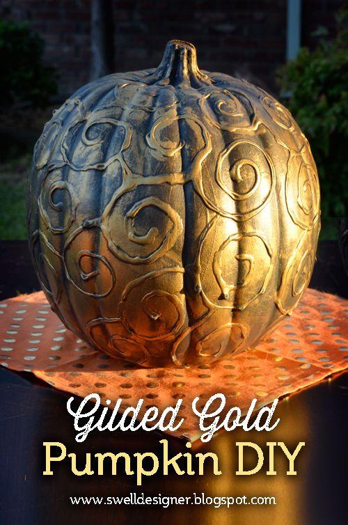 The Swell Life: Swirly Gold Gilded Pumpkin DIY