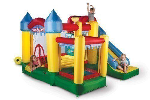 Avyna Hüpfburg Fun Palace 6in1 mit großer Rutsche, Kletterwand, Ball-Pool und Basketballkorb (für bis zu 4 Kindern)