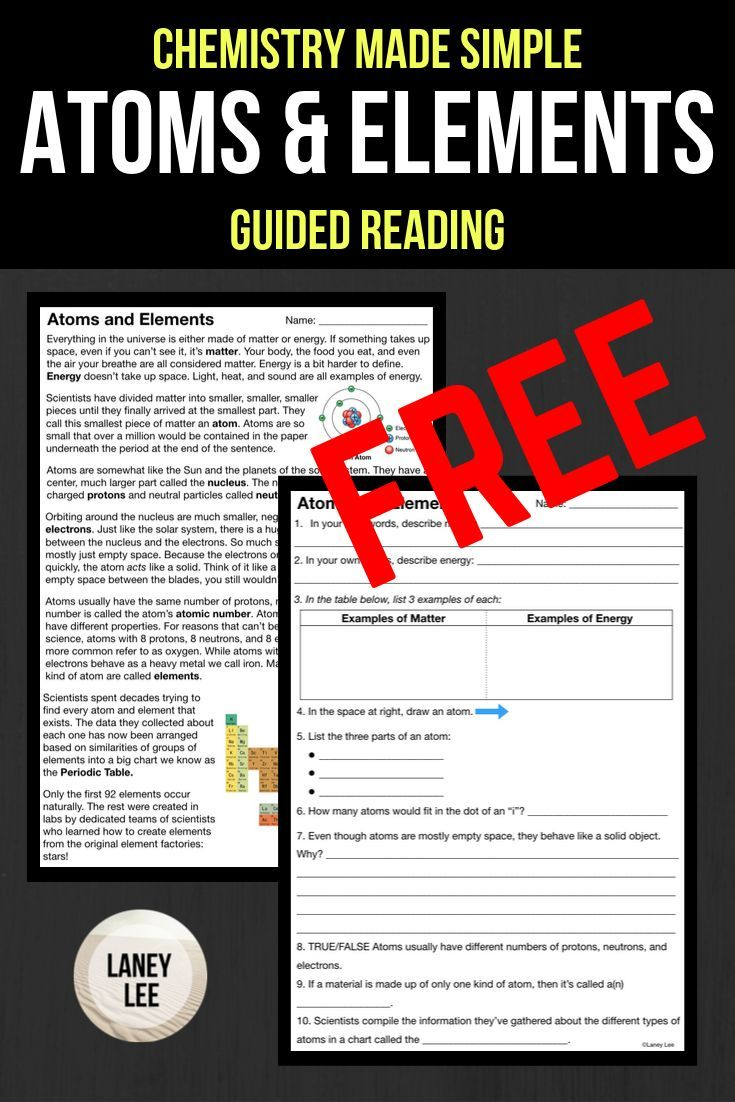 Introduce Atoms And Elements With This Free Easy To Use And Check Worksheet Students Middle School Science Resources Middle School Science High School Science