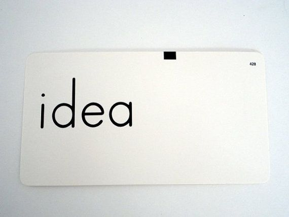 Vintage Word Flash Card IDEA 1960s Paper Supply Altered Art Home decor Child's room by metrocottage