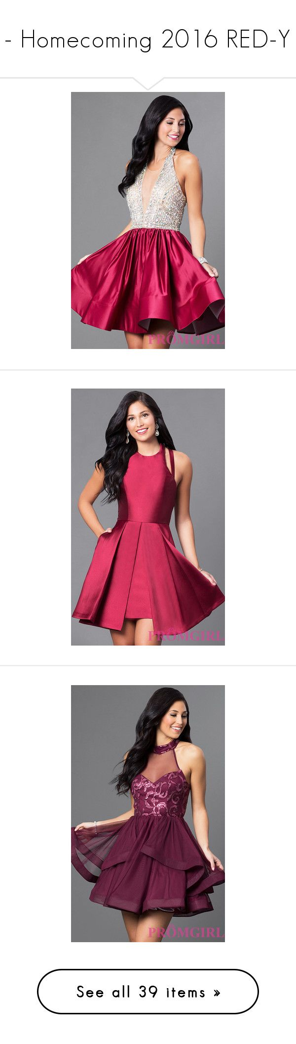 """""""- Homecoming 2016 RED-Y"""" by promgirlxo ❤ liked on Polyvore featuring dresses, plus size evening dresses, plus size formal dresses, pink prom dresses, halter cocktail dress, short prom dresses, short pink dress, faviana dresses, high neck dress and open back dresses"""