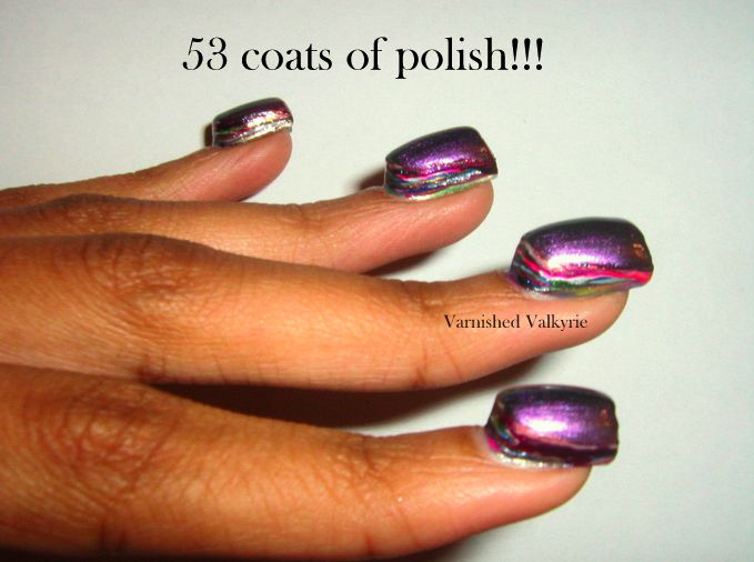 This is what 53 coats of nail polish looks like