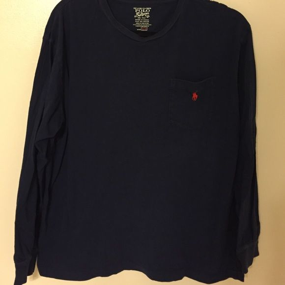 Navy long sleeve Polo Ralph Lauren shirt!! Perfect condition long sleeve shirt. Awesome for the chilly days ahead!!! Super cheap compared to original price!! Polo by Ralph Lauren Tops Tees - Long Sleeve