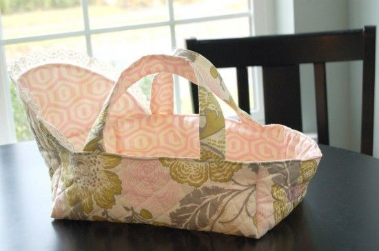 """All sorts of cute dolly things. Tutorials for dolly diaper patterns, slings, diaper bag, and this sweet bassinet with handles. Links to all sorts of cute things to make for 15"""" and 18"""" dolls. Stop pinning fun crafts and go MAKE something!"""