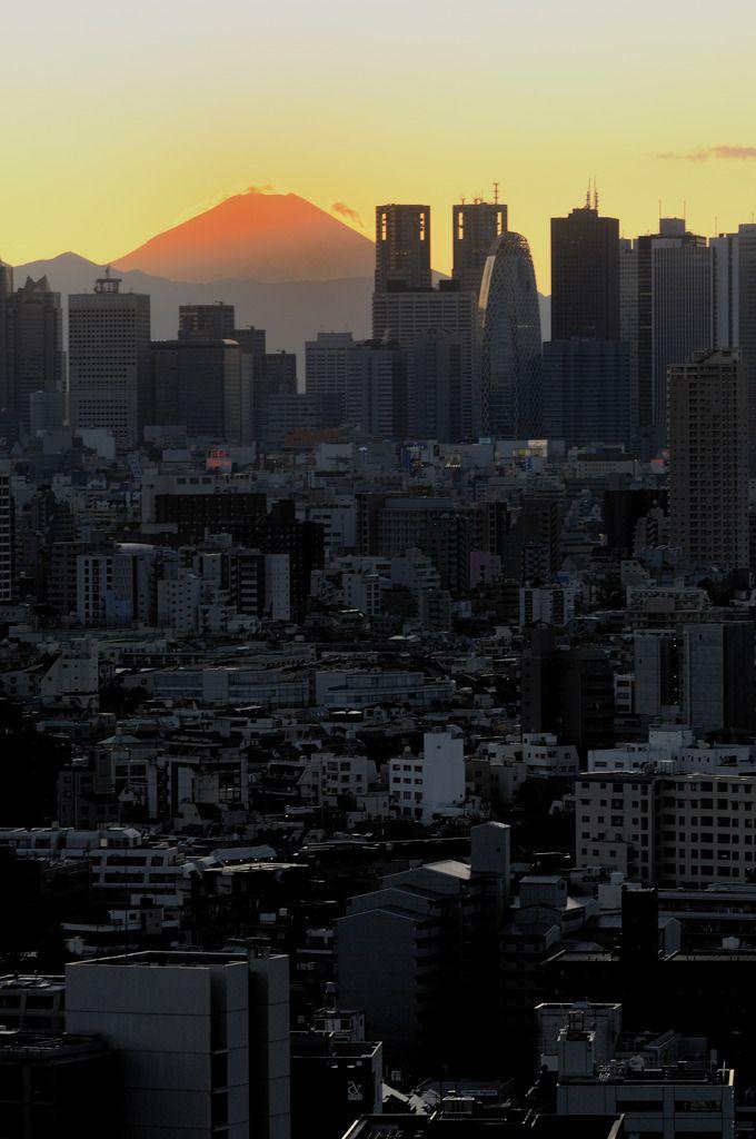 Red Mount Fuji  - Mount Fuji sunset over Shinjuku, Tokyo, Japan