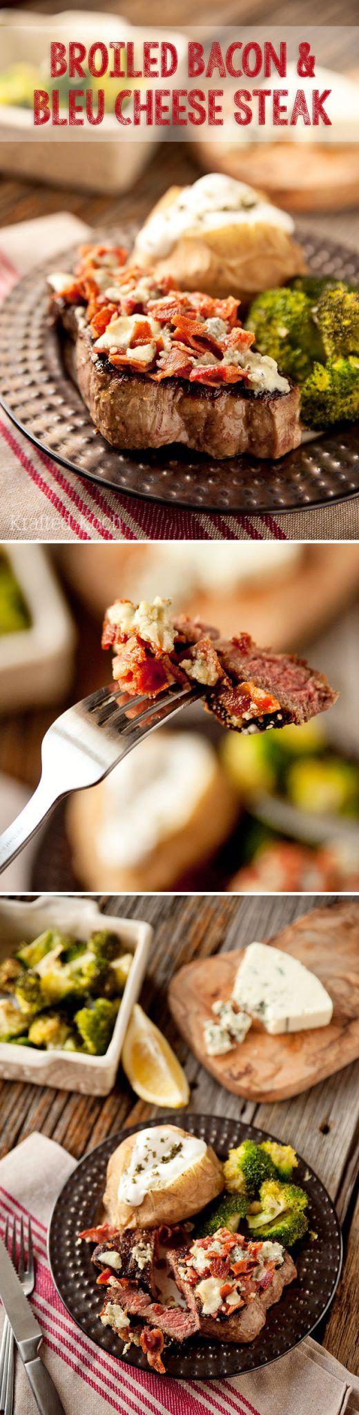 Broiled Bacon & Bleu Cheese Steak