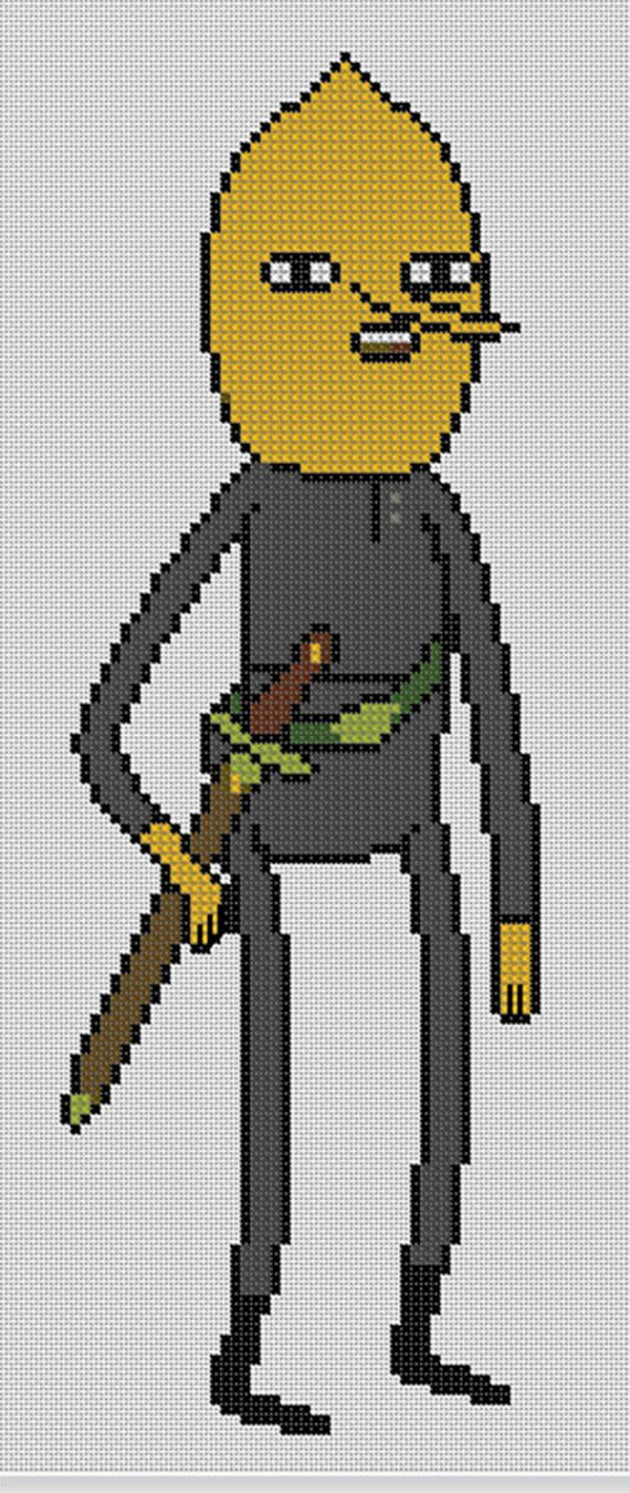 Counted Cross Stitch Pattern, Adventure Time Lemongrab, Instant Download, PDF Pattern