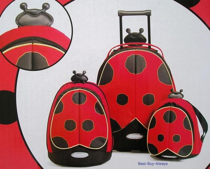 LadyBug Suitcase Samsonite Sammies 3 Piece Set Kids Childrens Luggage