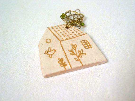 Ceramic jewelry / Little ceramic house brooch with wire cloud of smoke / Clay house Brooch / beads / Handmade ceramic