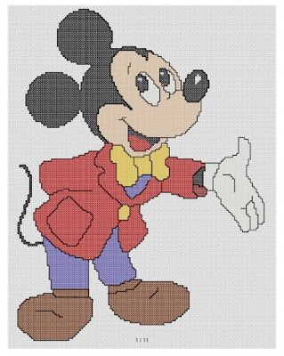 free cross stitch patterns and links: mickey mouse