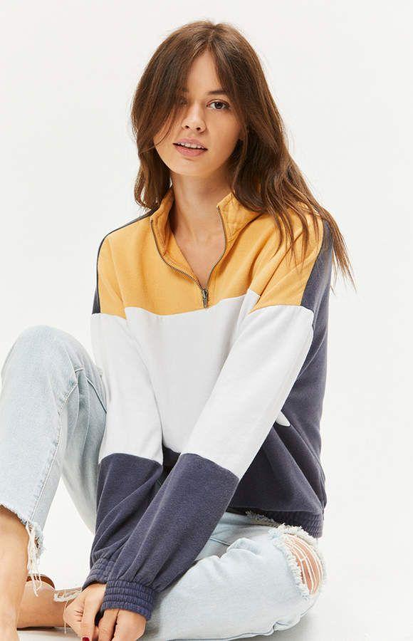 27b2a669e82 La Hearts Colorblocked Half Zip Sweatshirt