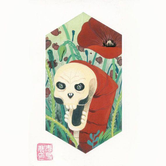 Skull Caterpillar with poppies di DocCaligari su Etsy