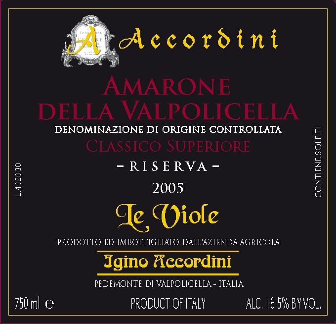 """Accordini Amarone Riserva """"Le Viole"""" 2005 