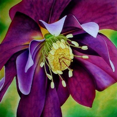 """Hellebore""  - silk painting mounted 42cm square       ©2010 Leonard Thompson"