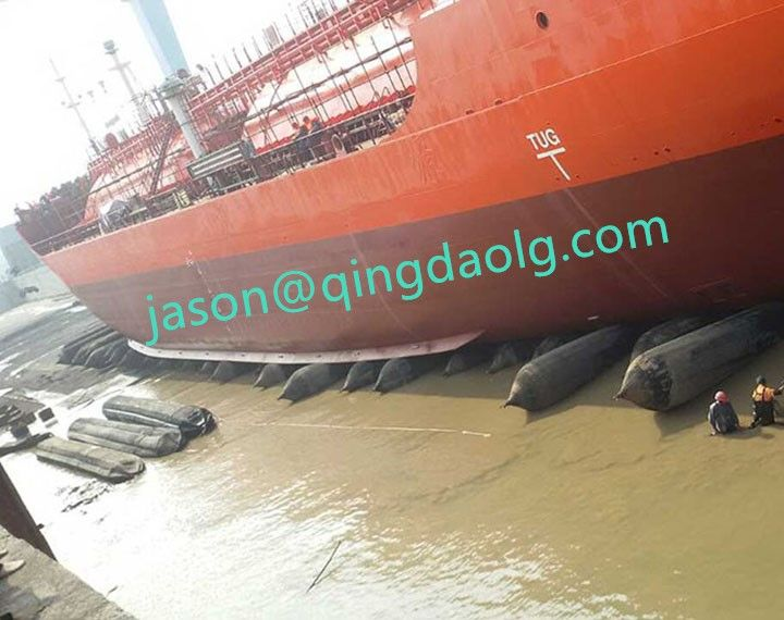 Marine rubber airbags for ship launching. Largest manufacture in China.  Website: www.qingdaolg.com  Email: jason@qingdaolg.com  Tel/Whatsapp: 86-18561375951