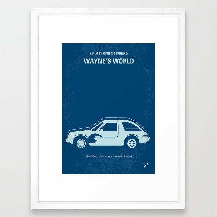 "No211 My Waynes World minimal movie poster Framed Art Print - 20""x26"" - vector white frame - $85.99"