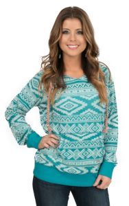 Outback Trading Company Women's Turquoise Aztec Bohemian V Neck Long Sleeve Hoodie   Cavender's