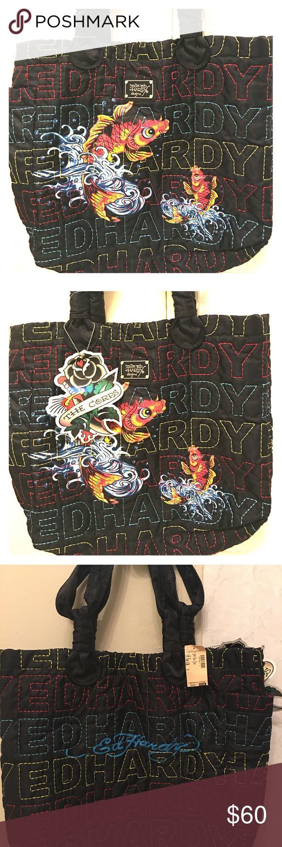 DON ED HARDY BEACH TOTE BIG DON ED HARDY DESIGNS BEACH TOTE . VIBRANT COLORS AND STITCHING. L20, H16, WIDTH OF BOTTOM -5, HANDLE DROP HEIGHT-9 INCHES, MAGNETIC SNAP CLOSURE, 1 OUTSIDE POCKET &INTERIOR -2 SMALL , &1 ZIPPERED POCKETS. THIS IS ONE OF A KIND ! Don Ed Hardy Bags Totes