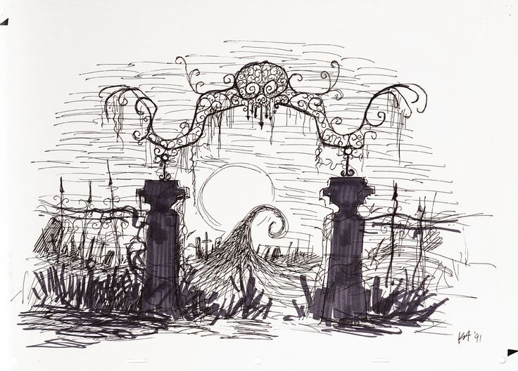 Cemetery gates. Tattoo idea. Nightmare Before Christmas.
