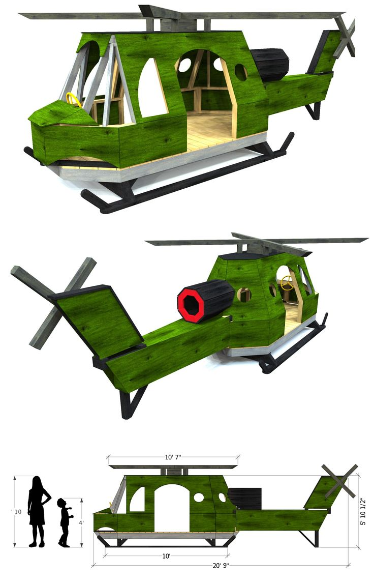 A Bell Huey styled helicopter playhouse made for kids!  The details are amazing.  No boy would be able to resist playing on this thing.  Download the plans today at paulsplayhouses.com!