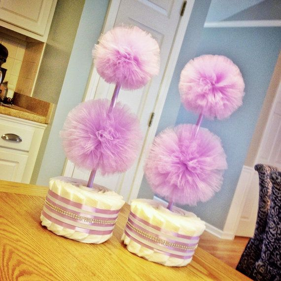 lavender baby shower decorations diaper cake tulle decorations tulle pom pom