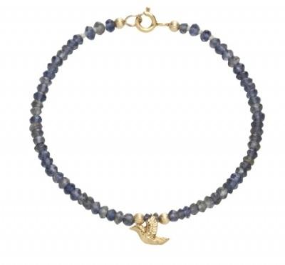 Iolite Hummingbird Bracelet, gold plate