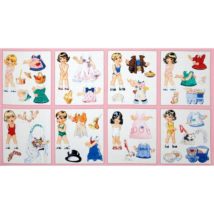 Paper Doll Cuties Patchwork Panel Pink
