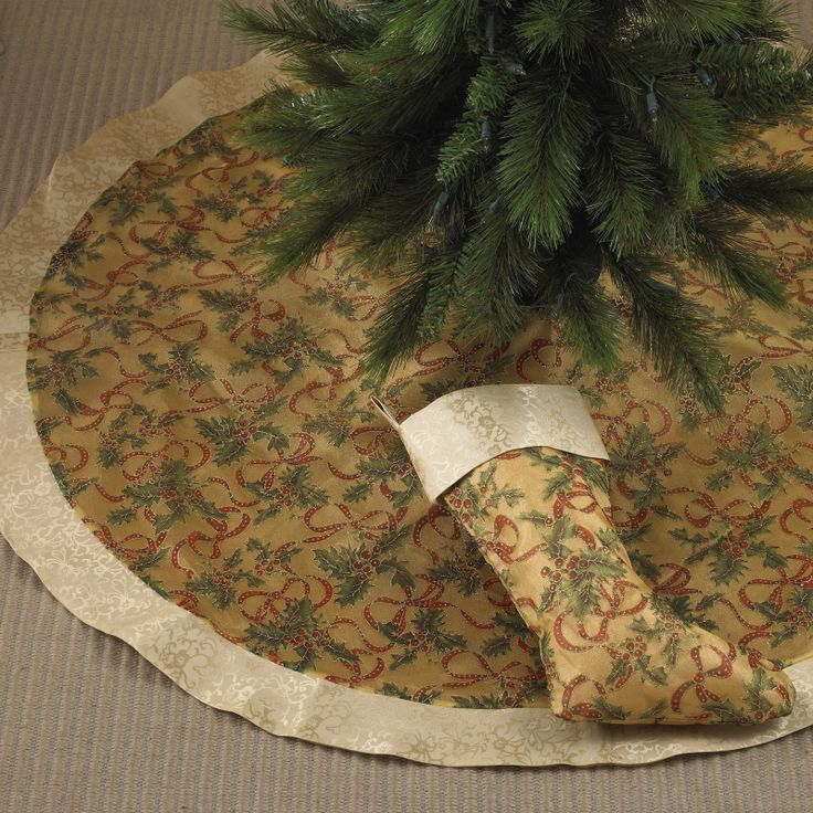 Gold Christmas Tree Skirts Part - 39: Elegant Christmas Tree Skirts | Gold Accent Christmas Tree Skirt, Made Of  100% Polyester