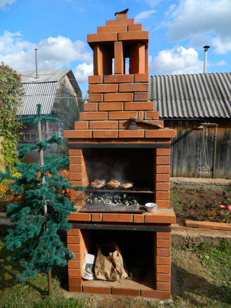 печь мангал барбекю из кирпича