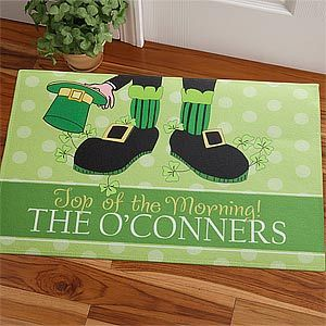Awwww! This Leprechaun Doormat is so cute!!! It's perfect to have out for St. Patrick's Day whether you're Irish or not! Plus you can personalize it to say whatever you want ... LOVE IT!