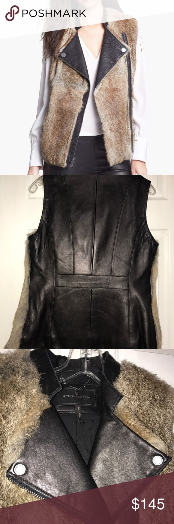 BCBGMaxAzria Rabbit Fur Leather Jacket/Vest SMALL Like New!!! Mint Condition size small   Details Soft rabbit fur with richly nuanced coloring defines the front of a moto-inspired vest complemented with light-catching leather for the back and trim, including snap-down lapels. - Front pockets - Front asymmetrical-zip closure - Genuine rabbit fur construction - Fully lined - Imported Fiber Content Shell: 100% leather Fur: Genuine rabbit fur (origin: China) Lining: 100% rayon Filling: 100%…