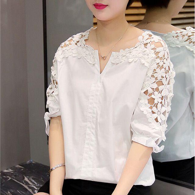 Yaz Kadın Dantel Bluzlar 2016 Moda Kadın Dantel Gömlek Hollow Out Casual Kısa Kollu Kadın Gömlek Tops Artı Boyutu Giyim 5XL