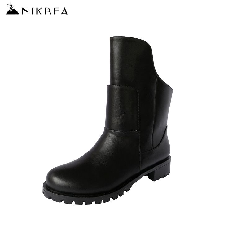 Nikbea Fashion Winter Martin Boots Women Large Size Punk Riding Boots Handmade Chunky Low Heel Botines Mujer 2016 Autumn Botas