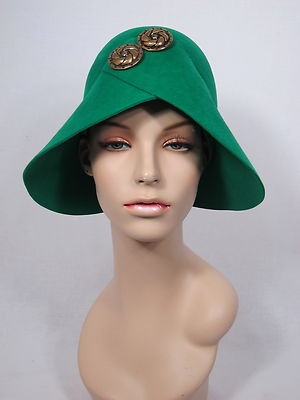 1950s or 60s Lilly Dache Green Wool Felt Bucket Cloche Hat with Gold Buttons | eBay