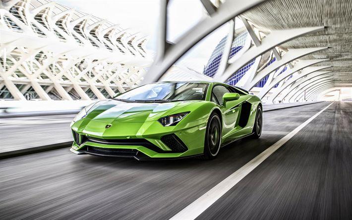 Descargar fondos de pantalla Lamborghini Aventador, 4k, road, supercars, green Aventador, italian cars, Lamborghini