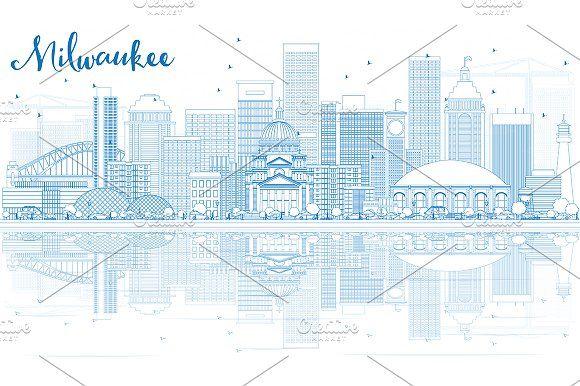 #Outline #Milwaukee #Skyline by Igor Sorokin on @creativemarket