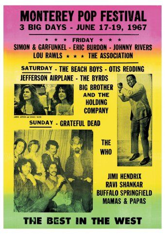 The Monterey International Pop Music Festival was a three-day concert event held June 16 to June 18, 1967 in Monterey, California. Crowd estimates for the festival ranged from 50,000-90,000 people