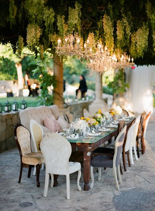 An Adorable Dinner Party Or Even Head Table Idea For A Wedding Reception W/  Bride And Groom On The Sofa Chair! Too Cute For Reheral Dinner