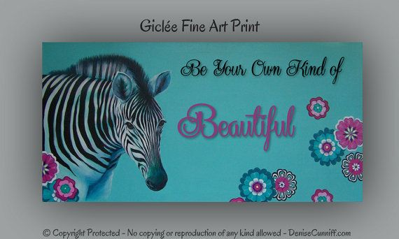 Zebra girls room decor Personalized girls art by ArtFromDenise, $58.00