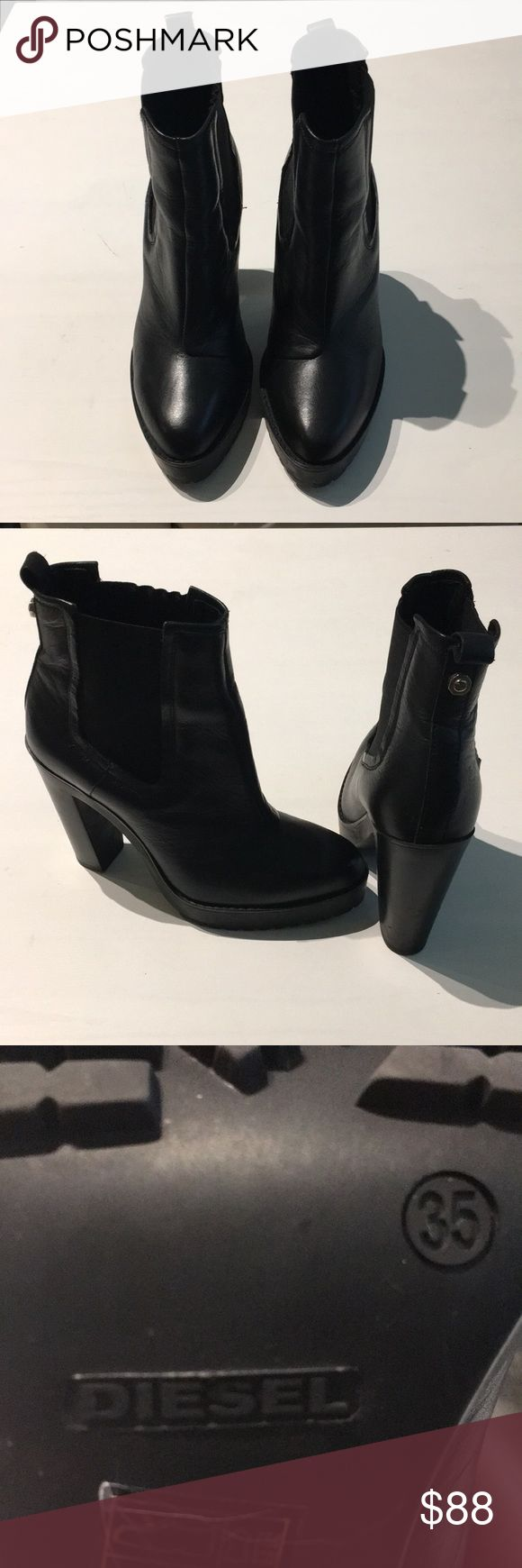 Diesel Black Leather Ankle Boots - Size 35 Stylish and comfortable black leather boots from Diesel. Prefect for Fall/Winter, even early Spring outfits. Excellent condition. Diesel Shoes Ankle Boots & Booties